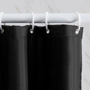 "Furlinic Black Shower Curtains Extra Long Bathroom Waterproof Fabric Washable Liner Mould Proof,Sets With 12 PCS Plastic Hooks W180 x H210cm(72"" x 84"")."