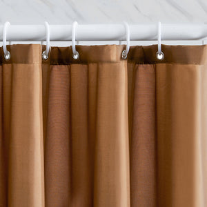 "Furlinic Shower Curtains Extra Large Bathroom Waterproof Fabric Washable Liner Mould Proof,Sets With 12 Plastic Rings-71"" x 82"",Brown."