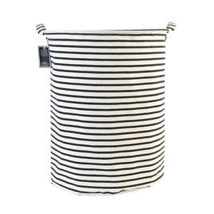 Furlinic Round Linen Laundry Baskets With Fabric Drawstring,Large Collapsible Clothes Storage Basket Waterproof Inner Ideal For Washroom,Bathroom,Restroom-(65 L)Black Narrow Stripe.
