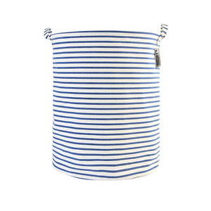 "Furlinic Collapsible Laundry Baskets Large,Eco Foldable Dirty Clothes Stand Storage Hampers,Waterproof Round Inner Drawstring Clothing Bins(Available 17.7"" & 19.7"" Height)-Blue Narrow Stripe,M."