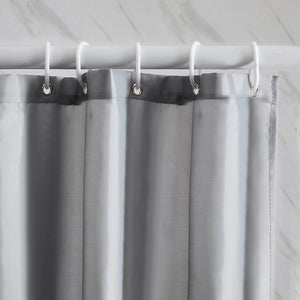 Furlinic Extra Long Shower Curtain with Hooks,100% Polyester Bathroom Shower Curtain Waterproof(Grey),180 x 210cm(72 x 84 Inch).