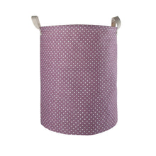 "Load image into Gallery viewer, Furlinic Collapsible Laundry Baskets Large,Eco Foldable Dirty Clothes Stand Storage Hampers,Waterproof Round Inner Drawstring Clothing Bins(Available 17.7"" & 19.7"" Height)-Wine Dots,M."