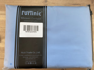 "Furlinic Sky Blue Fabric Shower Curtain Extra Long,Smooth Dustproof Material Curtains for Shower with 12 Plastic Hooks-60"" x 72""."