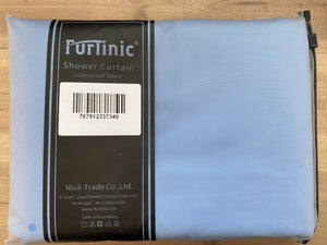 "Furlinic Blue Fabric Shower Curtain Extra Long,Smooth Dustproof Material Curtains for Shower with 12 Plastic Hooks-78"" x 94""."