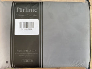 "Furlinic Dark Grey Fabric Shower Curtain Extra Long,Smooth Dustproof Material Curtains for Shower with 12 Plastic Hooks-60"" x 72""."