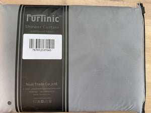 "Furlinic 62"" x 78"" Shower Curtain Liner,Duty Waterproof Fabric Curtains for Shower with 12 Plastic Hooks-Dark Grey."