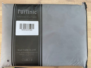 "Furlinic Dark Grey Fabric Shower Curtain Extra Long,Smooth Dustproof Material Curtains for Shower with 12 Plastic Hooks-78"" x 94""."