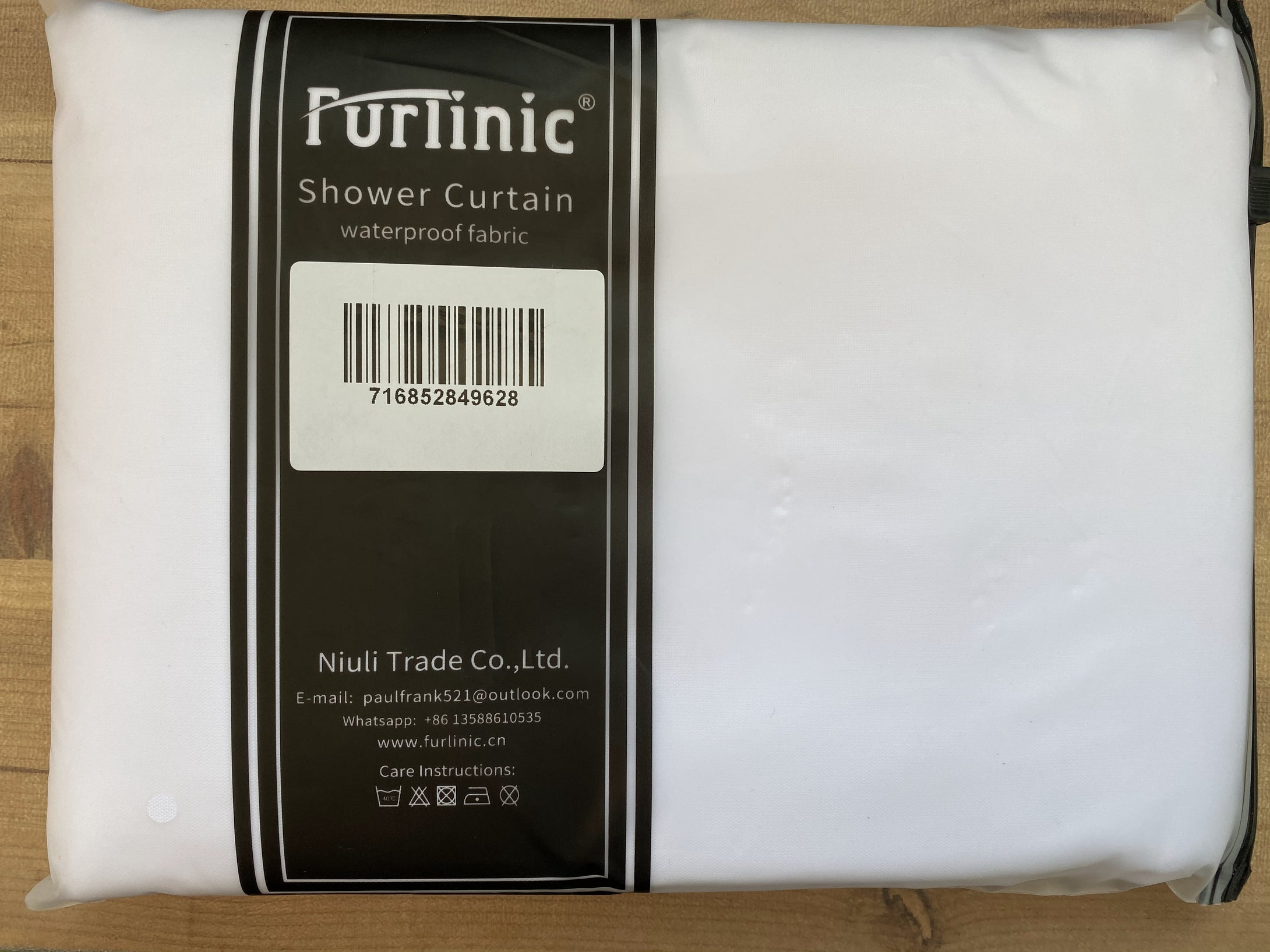 Furlinic White Hookless Shower Curtain Mildew Resistant and Waterproof Fabric, Weighted Curtains for Wetroom or Bathroom-35x72 Inch.