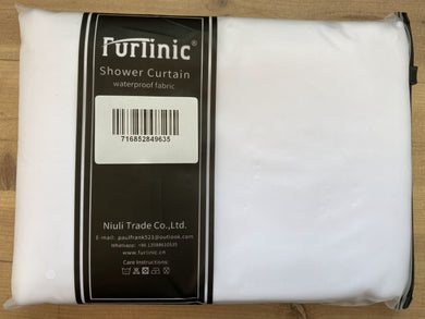 Furlinic Anti Mould Hookless Shower Curtain White Fabric, Weighted Curtains Liner Waterproof for Hotel and Family-47x72 Inch.