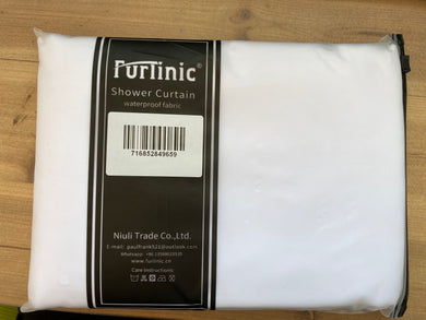 Furlinic Extra Long Hookless Shower Curtain White Fabric Curtains Anti Mould and Waterproof for Wet Room with Plastic Buckles-47x83 Inch.