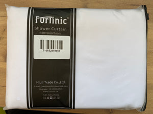 Furlinic Hookless Shower Curtain White, Weighted Curtains Made of Anti Mould and Waterproof Fabric for Wetroom-71x72 Inch.