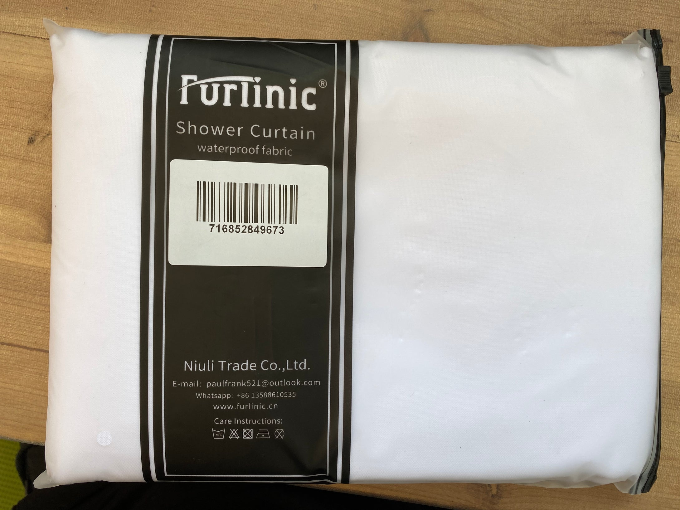 Furlinic Fabric Hookless Shower Curtains, Lurxury White Waterproof and Mould Resistant Curtain Liner for Wet Room or Bath-47x80 Inch.