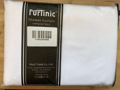 Furlinic Extra Long Hookless Shower Curtain, White Fabric Curtains Anti Mould and Waterproof for Wet Room with Plastic Buckles-71x83 Inch.