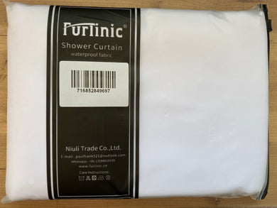 Furlinic Extra Long Hookless Shower Curtain, White Fabric Curtains Anti Mould and Waterproof for Wet Room with Plastic Buckles-78x96 Inch.
