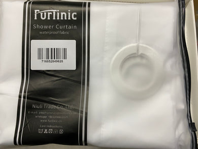 Furlinic Hookless Shower Curtain White Heavy Fabric,Stall Cloth Curtains Washable with Weighted Hem for Hotel or Family-72x35 Inch.