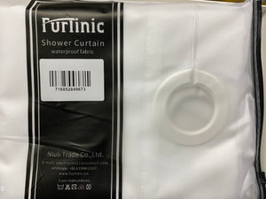 Furlinic Long Hookless Shower Curtain 78 Inch,Made of White Heavy Fabric Washable and Waterproof for Stall or Bathtub.