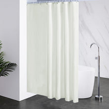 "Load image into Gallery viewer, Furlinic Cream Shower Curtains Extra Long Bathroom Waterproof Fabric Washable Liner,Sets with 12 PCS Plastic Hooks W180 x H200cm(72"" x 78"")."