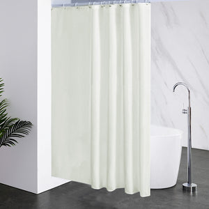 "Furlinic Cream Shower Curtains Extra Long Bathroom Waterproof Fabric Washable Liner,Sets with 12 PCS Plastic Hooks W180 x H200cm(72"" x 78"")."