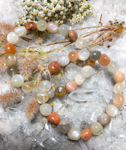 Peach Moonstone Crystal Chip Bracelet