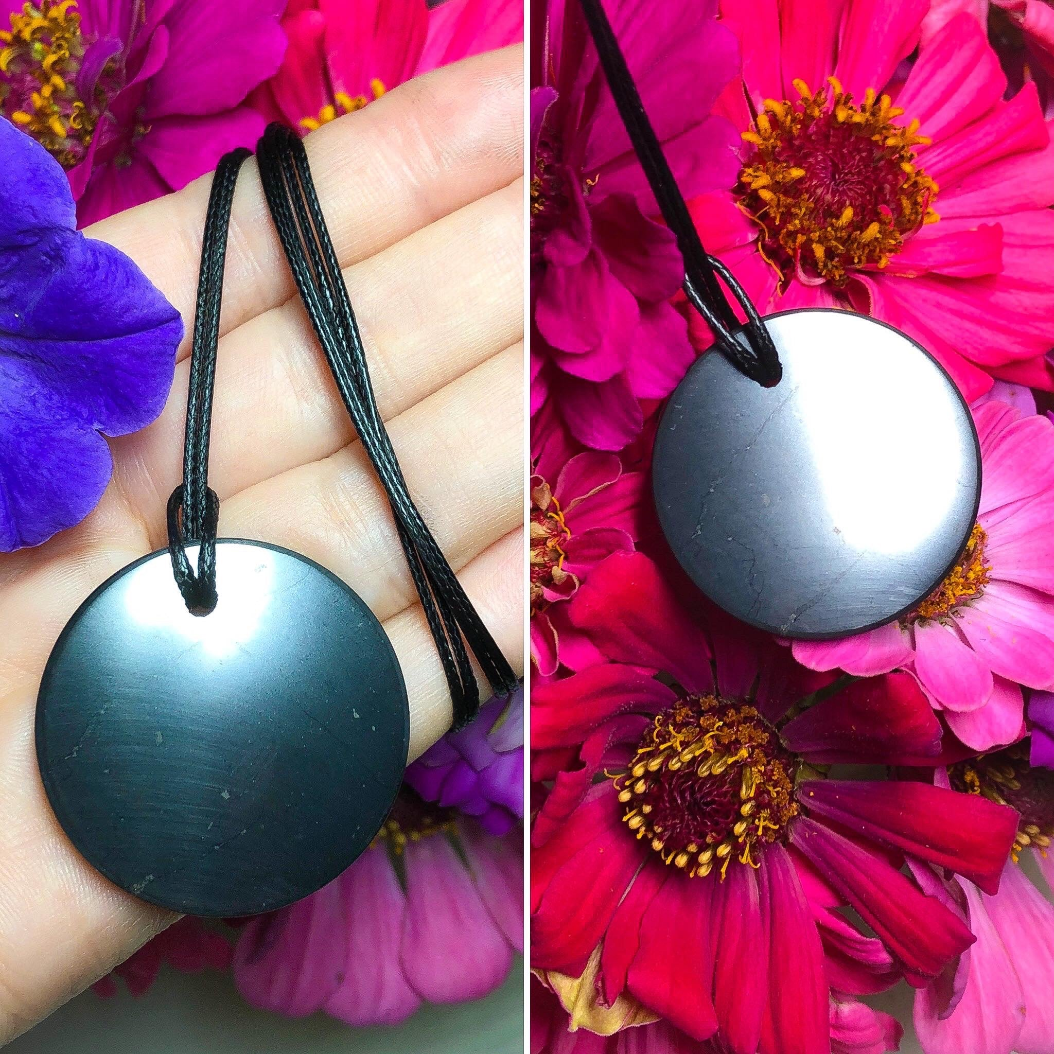 Black Shungite Crystal Circle Pendant