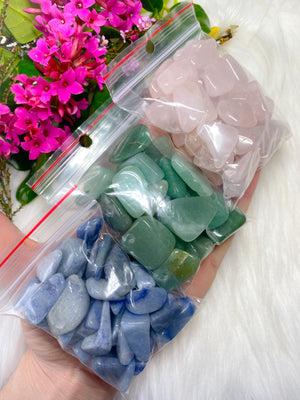 Bulk value Adventurine Rose Quartz Blue Quartz tumblestone chips 300gm