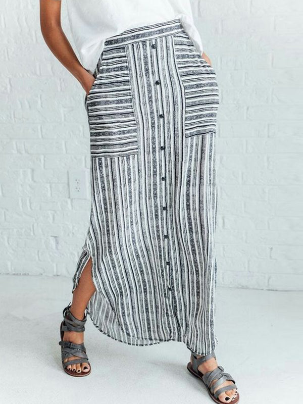 Light Gray Casual Striped Cotton-Blend Skirts