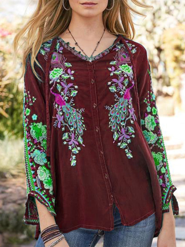 Casual Crew Neck Long Sleeve Printed Blouse