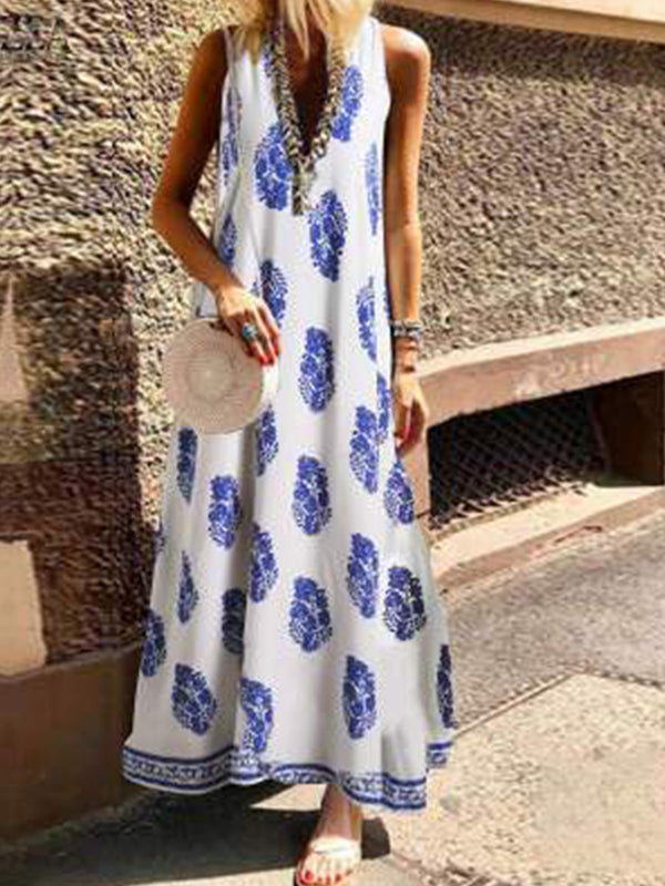 Printed Elegant Sleeveless Printed  Dresses