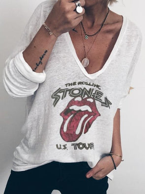The Rolling Stones Tour 1978 Graphic Printed Holiday Long Sleeve V-neck T-Shirt Tops