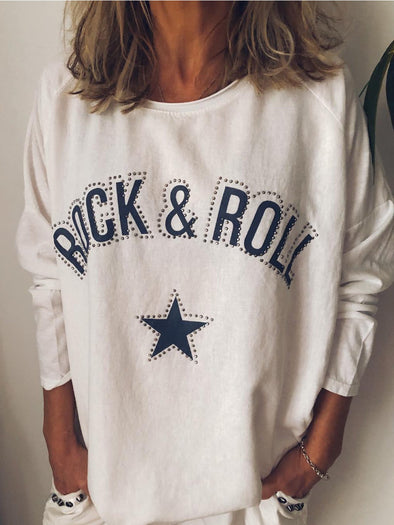 Women 3XL Punk Rock Letter Printed/Dyed Casual Cotton-Blend Long Sleeve T-Shirts & Tops Tunic