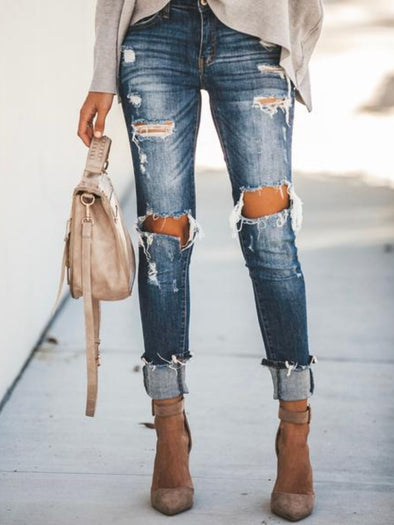 Blue Casual Skinny Distressed Denim Pockets Pants