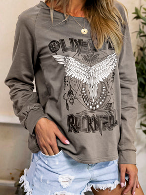 Women Punk Rock N Roll Angel Wings Print Crew Neck Long Sleeve Cotton Casual T-Shirt Tops Tunic Plus Size