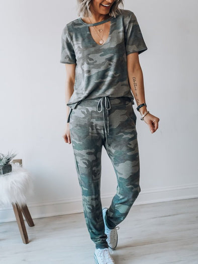 Camouflage Short Sleeve Crew Neck Suits