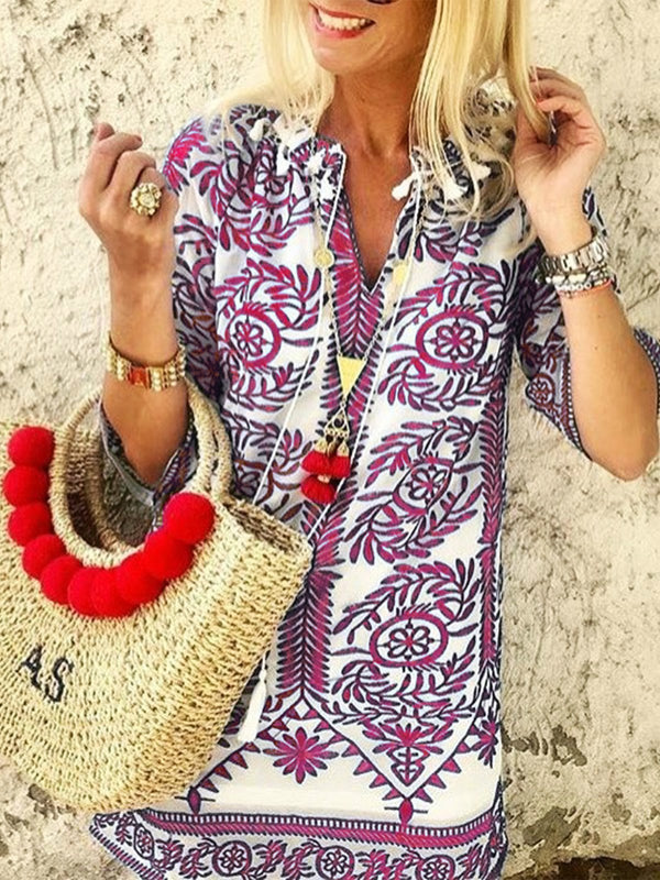 Floral printed casual V-neck Dress