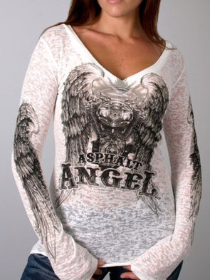 Women Asphalt Angel Ladies Burnout Casual Long Sleeve V Neck Plus Size Tee T-shirt Tops
