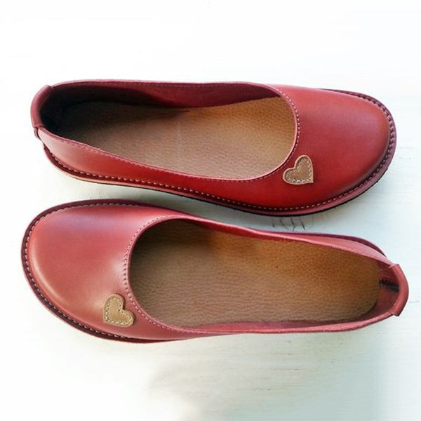 Women Soft Heart Flat Heel Summer Loafers