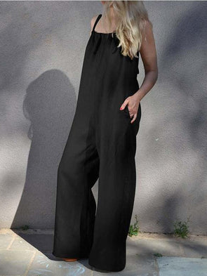 Women Solid Loose Style Casual Jumpsuit