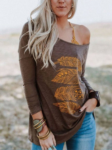 Brown Cotton-Blend Holiday Crew Neck Shirts & Tops