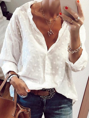 Casual V Neck Fall Plain Shirts & Tops