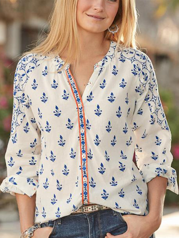 V Neck Casual Long Sleeve Buttoned Blouse