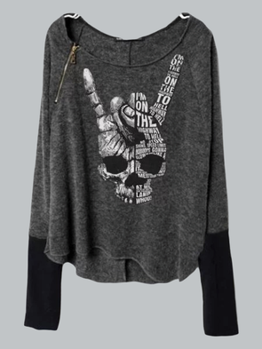 Women's Rock N Roll Skull Letter Print Sleeves Patchworked Side Zipper T-Shirt Tops Tunic