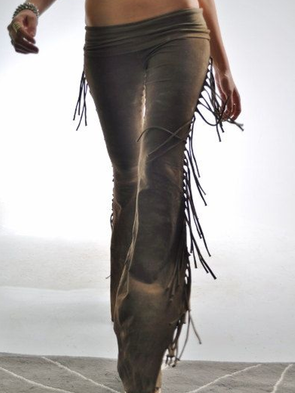 Women Cotton-Blend Gothic Skinny Solid Vintage Fringed Pants