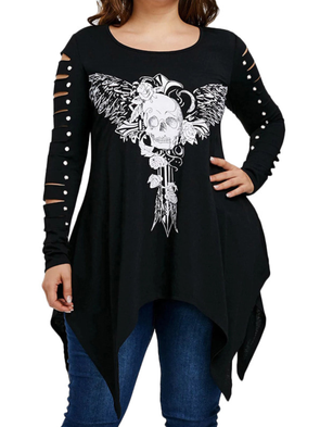 Black Crew Neck Casual Long Sleeve Shirts & Tops
