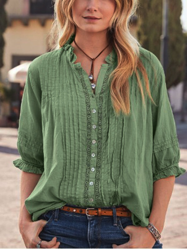 Half Sleeve V Neck Cotton-Blend Blouse