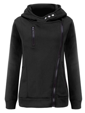 Solid Casual Paneled Zipper Hoodie Coat