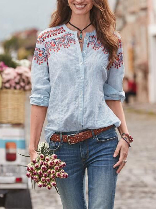 Buttoned Long Sleeve Casual Cotton-Blend Blouse