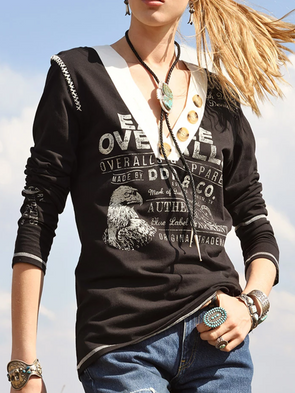 Black Casual Long Sleeve Cotton Shirts & Tops