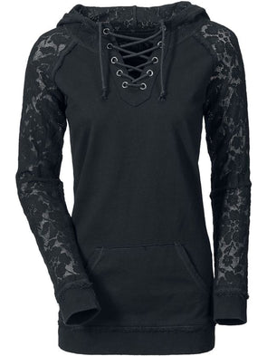 Punk Rock Solid Black Vintage Lace Decorated Plus Size Cotton-Blend Hoodie
