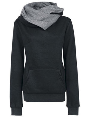 Hoodie Turtleneck Solid Slim Sweatshrt