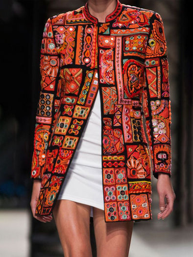 Orange Cotton-Blend Long Sleeve Graphic Outerwear